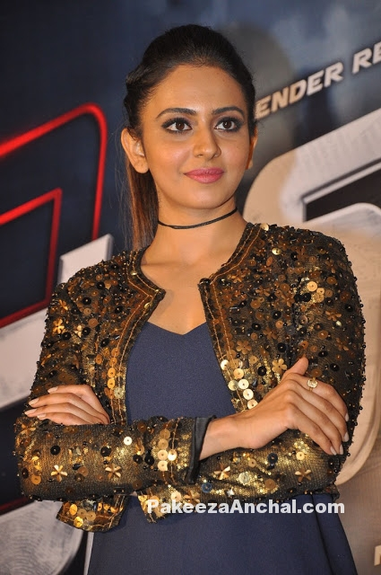 Rakul Preet Singh in Shimmer Jacket & Blue Jumpsuit
