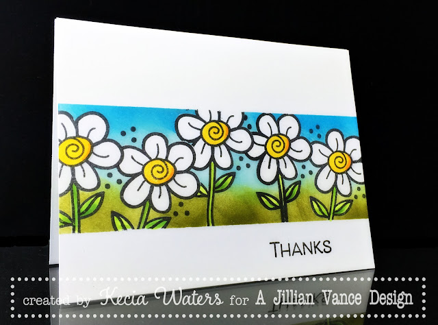 AJVD, Kecia Waters, daisies, Copic markers, Distress Inks
