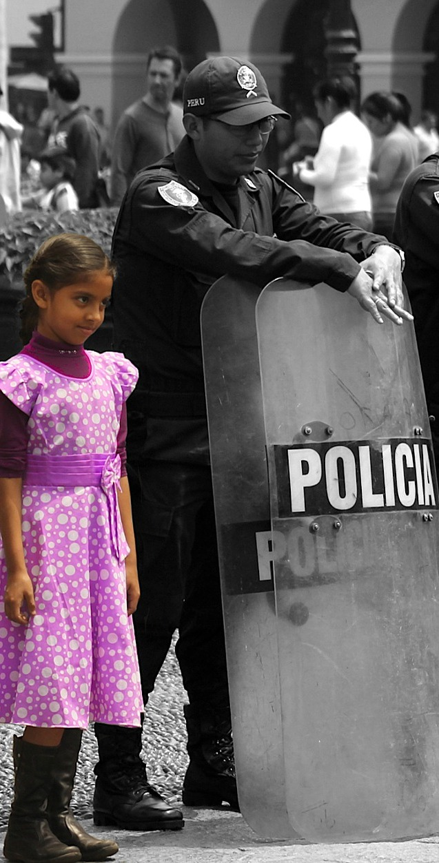 Policeman and a girl.