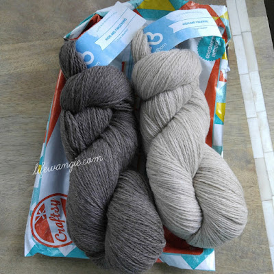 Two skeins of yarn in neutral colors. Darker one on the left.