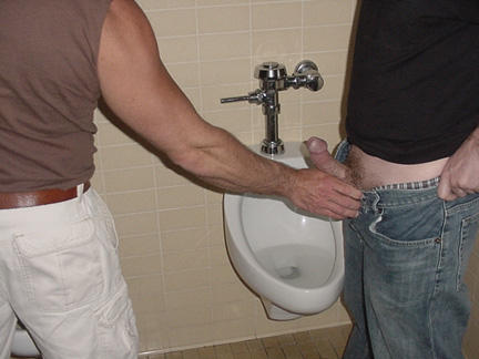 brothers at urinal trough