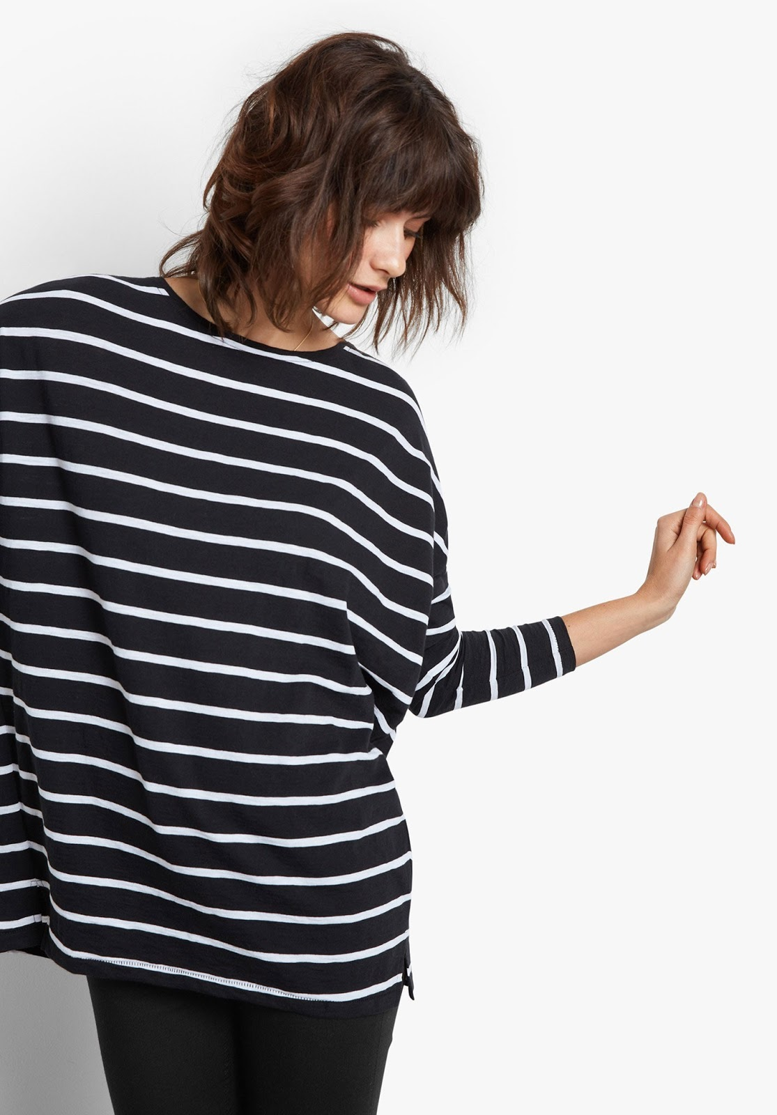 hush striped wide jersey top