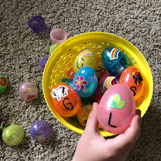 Learning activity for plastic Easter eggs