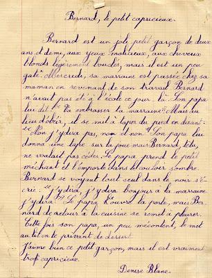 Cahier de rédactions (roulement), cours supérieur, élève Denise B., 1945 (collection musée)