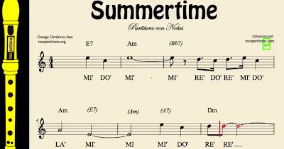 Summertime de George Gerschwin Partitura de Flauta, Violín, Saxofón Alto, Trompeta, Viola, Oboe, Clarinete, Saxo Tenor, Soprano Sax, Trombón, Fliscorno, chelo, Fagot, Barítono, Bombardino, Trompa o corno, Tuba, NOTAS y Tablatura de Guitarra...