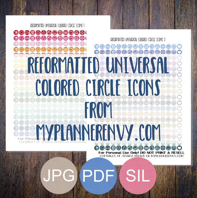 Free Printable Reformatted Universal Colored Circle Icons from myplannerenvy.com
