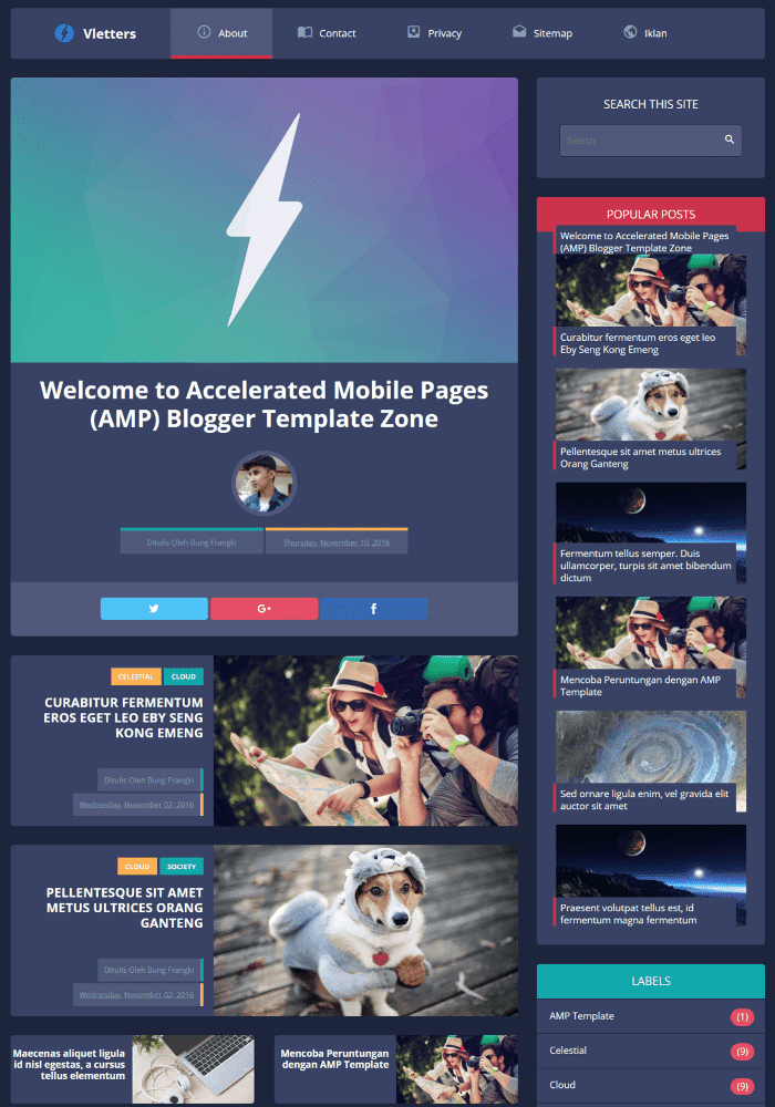 Vletters Best Free AMP Blogger Templates