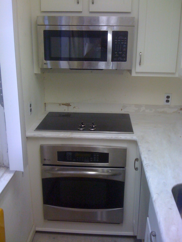 Replacing an electric Range with a cook top and an oven