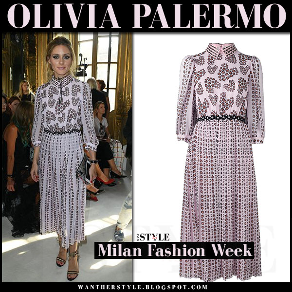 Olivia Palermo in pink floral print pleat midi dress giamba what she wore front row