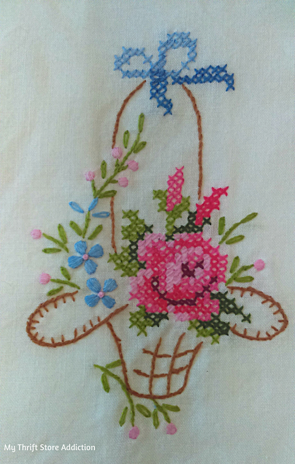 Vintage cross stitch tea towel