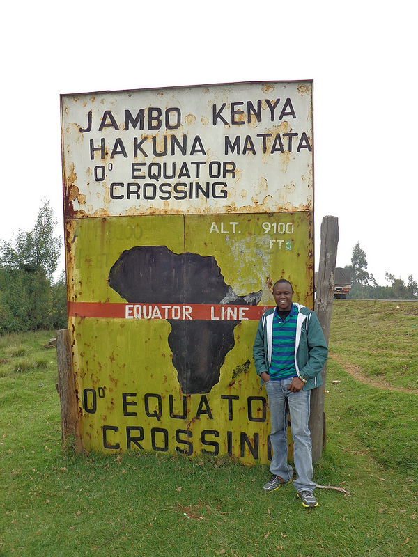 The Equator passes about 4 miles south of the town Nanyuki in Laikipia County, Kenya.