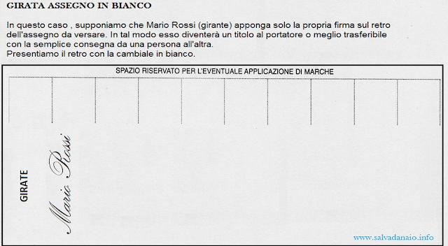 girata assegno in bianco