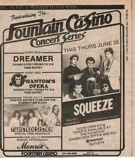 Fountain Casino rock club band line up 1981