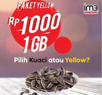 Baru !!! Paket Indosat Ooredoo Yellow 1 GB Cuma Rp 1.000 Cocok Untuk Smartphone