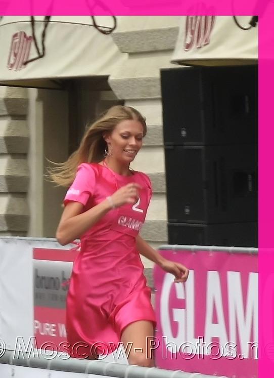 Running girl in glamour dress