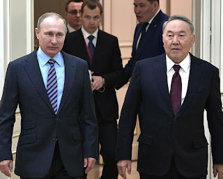Vladimir Putin and Nursultan Nazarbayev.