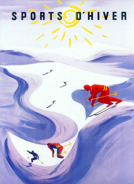 Vintage winter sports skiing poster - sports d'hiver print