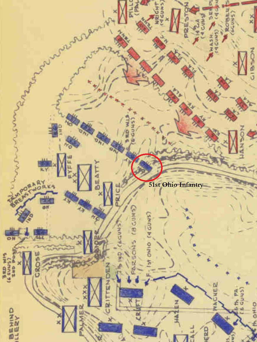 ed bearss map showing the location of the 51st ohio along the banks of stones river the regiment was struck by the veteran kentuckians of general roger w