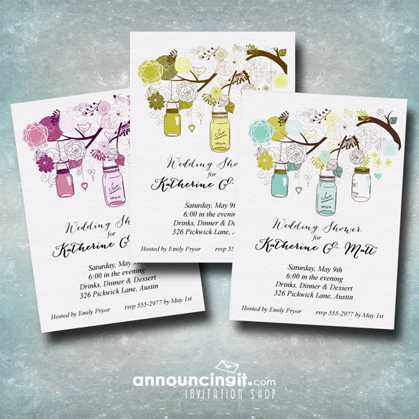 Tree of Mason Jars Party Invitations available at Announcingit.com