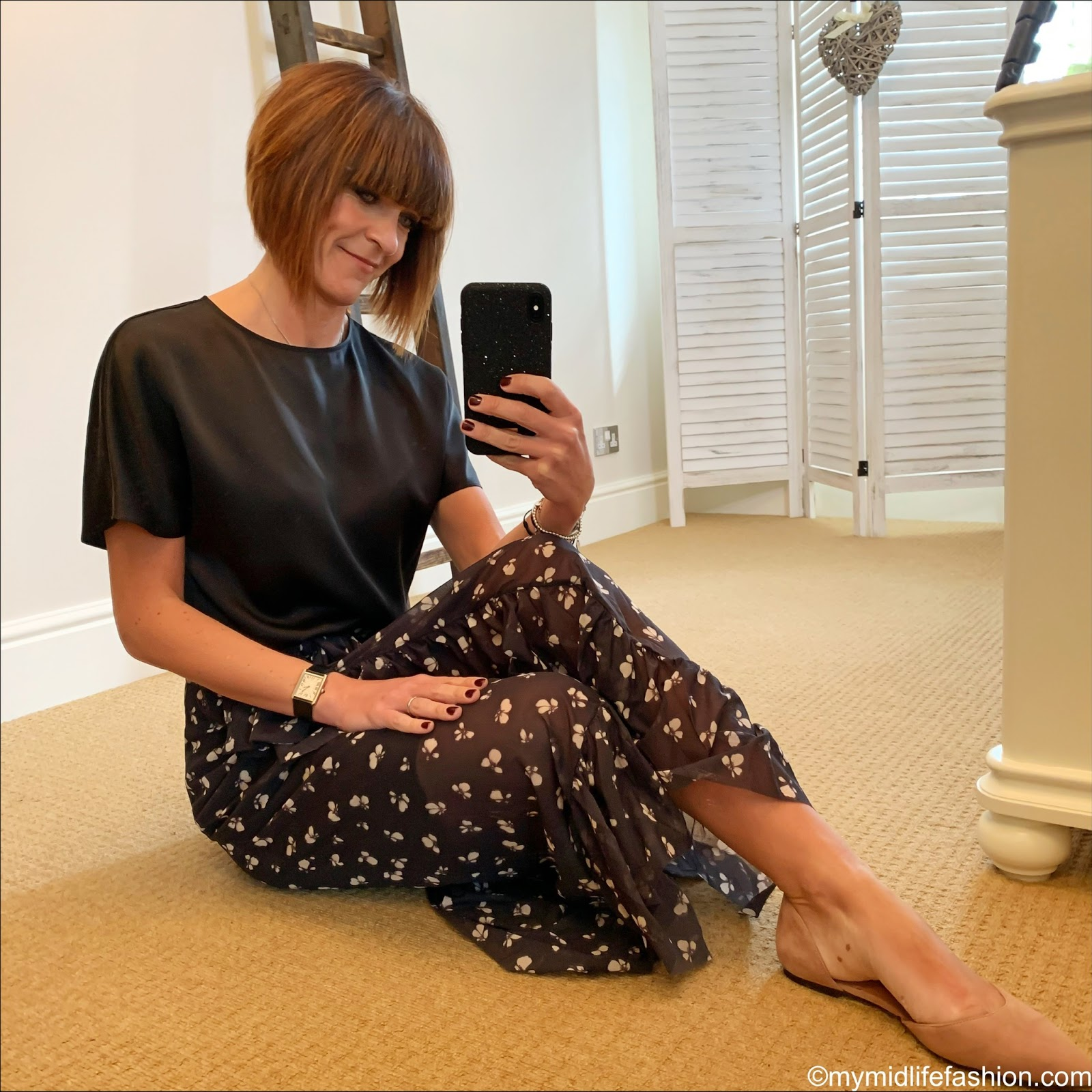 my midlife fashion, marks and Spencer pure silk round neck short sleeve top, h and m pointed ballet pumps, Ganni frill wrap around maxi skirt