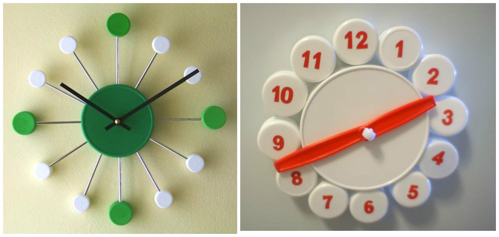 11 ideas ingeniosas reciclando tapas de pl stico - Hacer reloj de pared con fotos ...