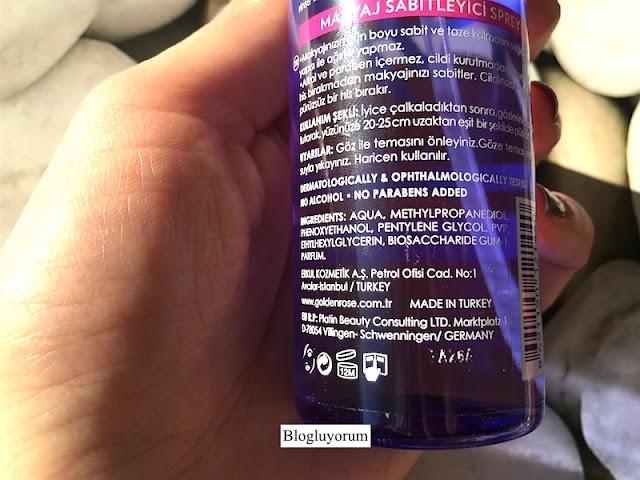 golden rose makyaj sabitleyici sprey make up fixing spray içerik