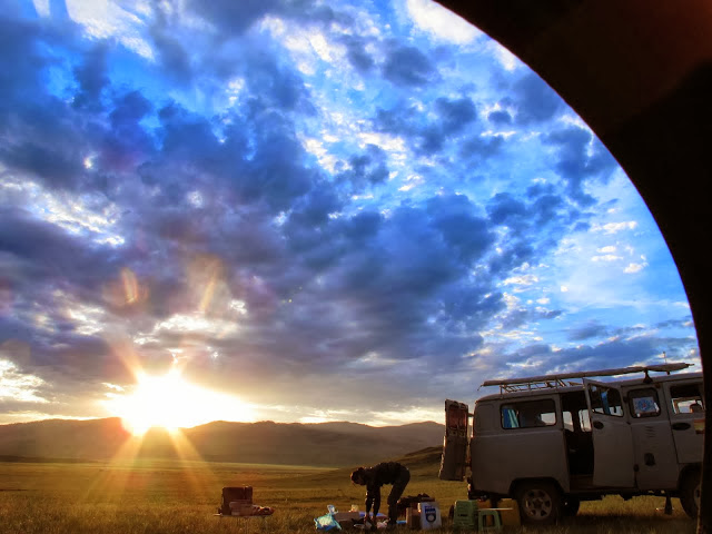 Russian Furgon 4x4 van, sunrise, northern Mongolia