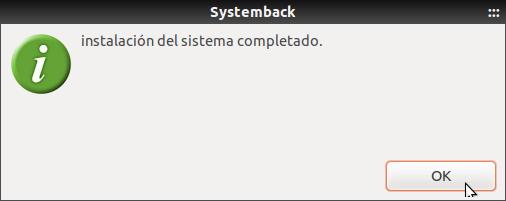 Systemback instalación completada