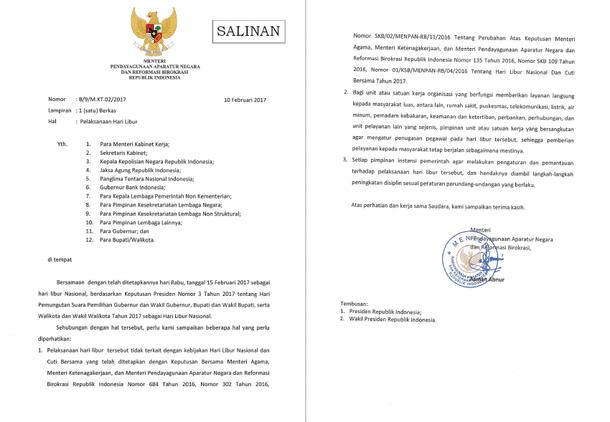 Surat MENPANRB Tentang Pelaksanaan Hari Libur Tanggal 15 Februari 2013