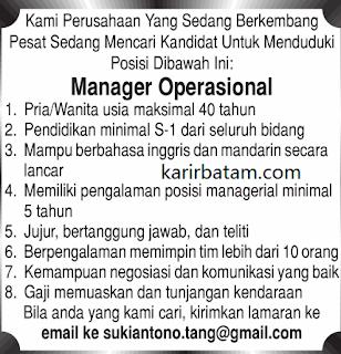 Lowongan Kerja Manager Operasional Kepulauan Riau (Desember 2017)