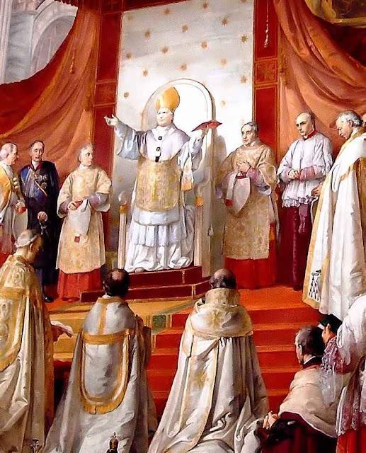 Beato Pio IX proclama o dogma da Imaculada Conceição. Franceso Podesti (1800–1895), Sala dell'Immacolata, Museos Vaticanos.