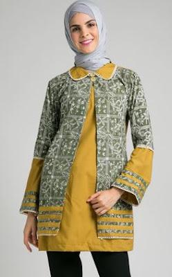 Model baju batik kombinasi blazer wanita lengan panjang