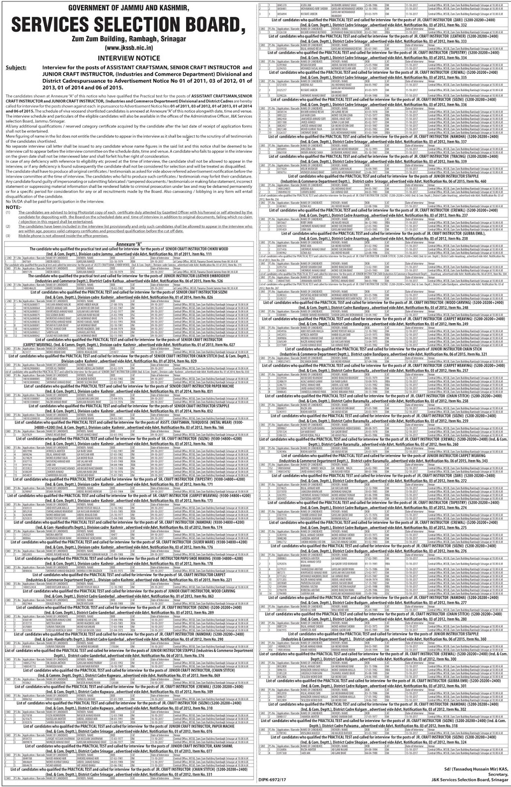 JKSSB Interview Notification for Assistant Accountant Posts in Finance Department