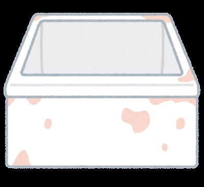 ピンクのカビの生えた浴槽のイラスト