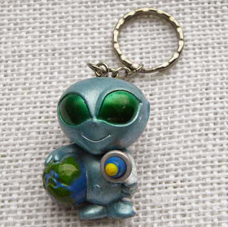 Blue alien keyring