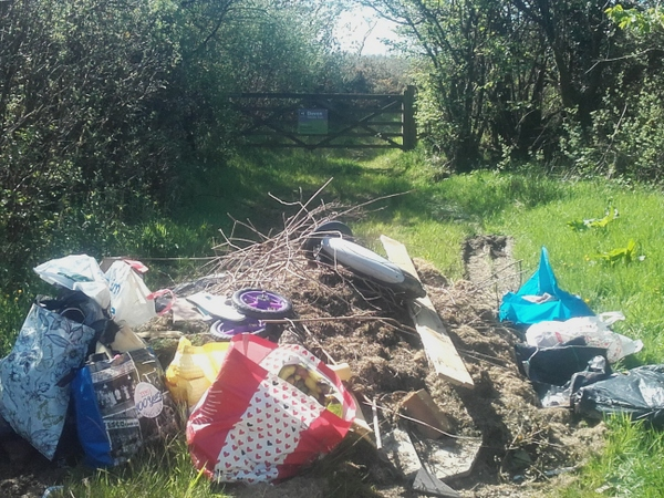 The fly-tipped rubbish recently found at Devon Wildlife Trust's Meresfelle nature reserve