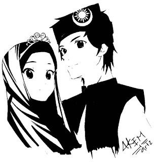 gambar kartun pasangan muslim dan muslimah hitam putih