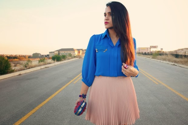 Electric Blue Blouse, Blush Pink Pleated Skirt, Crazy & Co. Heart Clutch, Tanvii.com