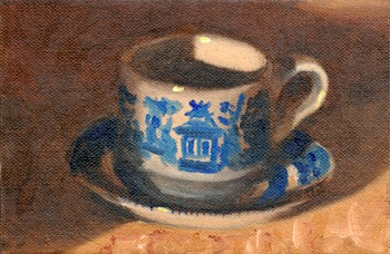Oil painting of a willow pattern teacup and saucer with dramatic lighting.