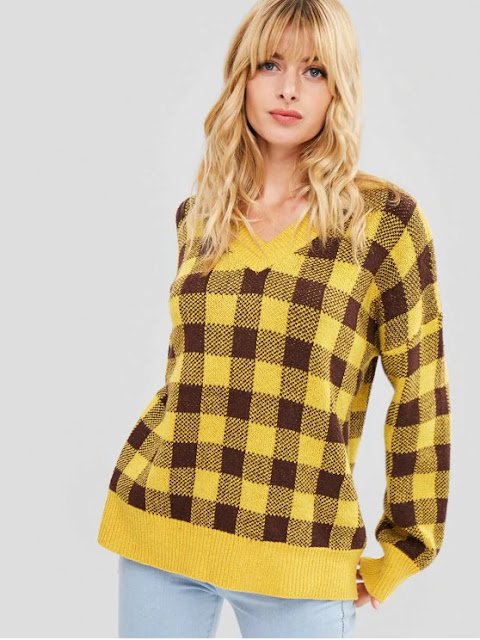 Oversized Xadrez Suéter - Amarelo