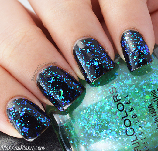 sinful colors green ocean, a green flakie nail polish