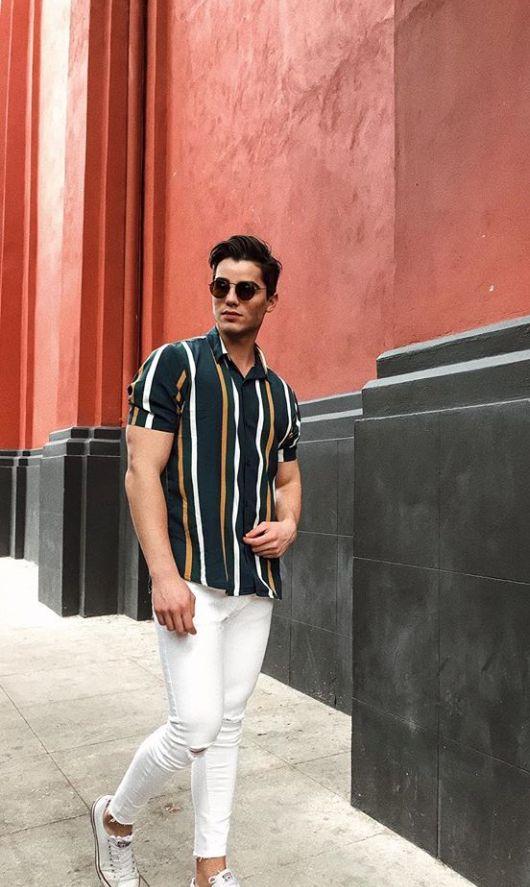 Look Masculino Tendência Listra Verticais Moda