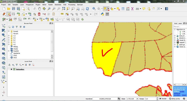 Memotong ( Membelah / Memecah ) Polygon ( Peta / Vektor