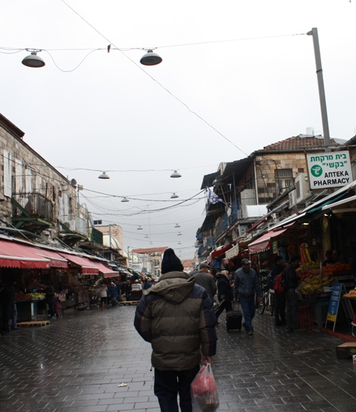 jerusalem market rainy day