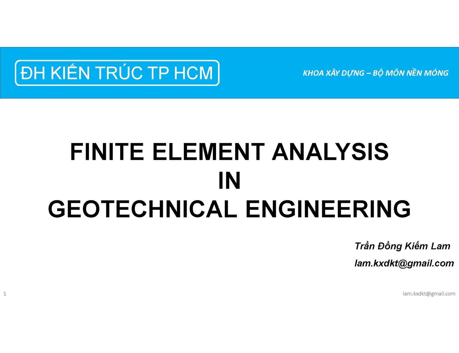 Finite Element Analysis In Geotechnical Engineering_KTL