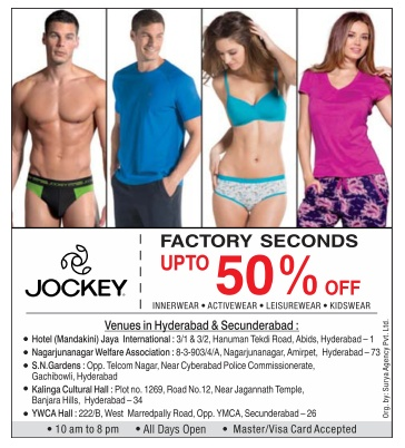 Jockey Factory Seconds Up to 50% off | October 2016 discount offer | Festial offer