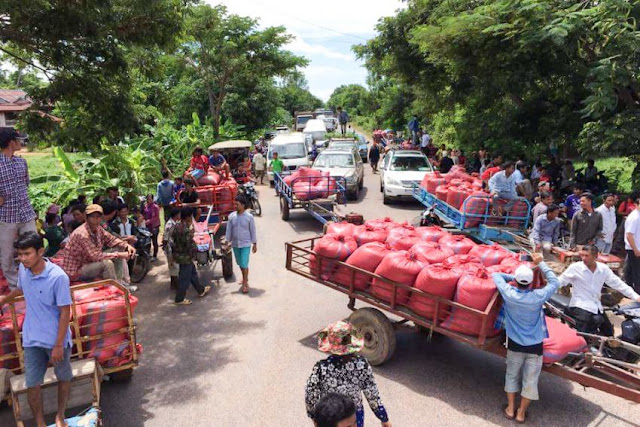 Farmers block National Road 5 yesterday in Battambang during a protest in which they demanded a solution to falling rice prices. Ny Savuth