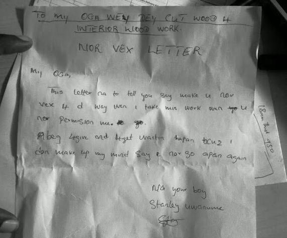 """Factory worker pens apology letter to his """"oga"""" in pidgin language"""