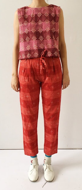 Ace & Jig Exclusive Skipper Tee in Damask and Stafford Pant in Cardinal