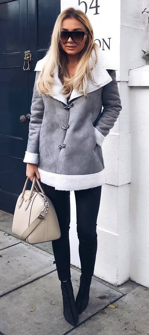 fall fashion trends: grey jacket + bag + black skinnies + heels
